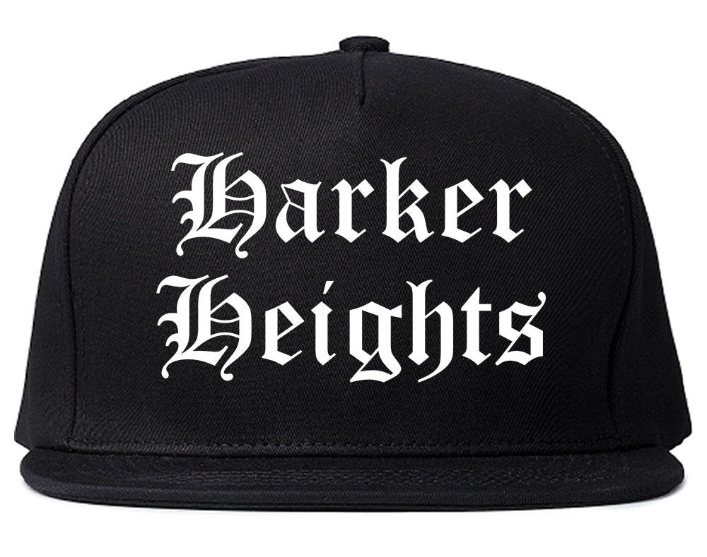 Harker Heights Texas TX Old English Mens Snapback Hat Black