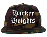 Harker Heights Texas TX Old English Mens Snapback Hat Army Camo