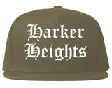 Harker Heights Texas TX Old English Mens Snapback Hat Grey
