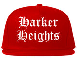Harker Heights Texas TX Old English Mens Snapback Hat Red