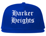Harker Heights Texas TX Old English Mens Snapback Hat Royal Blue