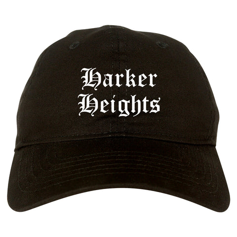 Harker Heights Texas TX Old English Mens Dad Hat Baseball Cap Black