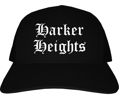 Harker Heights Texas TX Old English Mens Trucker Hat Cap Black