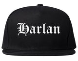 Harlan Iowa IA Old English Mens Snapback Hat Black