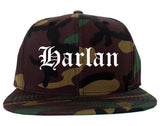 Harlan Iowa IA Old English Mens Snapback Hat Army Camo