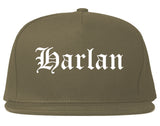 Harlan Iowa IA Old English Mens Snapback Hat Grey