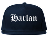 Harlan Iowa IA Old English Mens Snapback Hat Navy Blue
