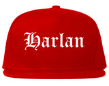 Harlan Iowa IA Old English Mens Snapback Hat Red