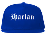 Harlan Iowa IA Old English Mens Snapback Hat Royal Blue