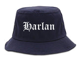 Harlan Iowa IA Old English Mens Bucket Hat Navy Blue