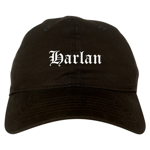 Harlan Iowa IA Old English Mens Dad Hat Baseball Cap Black