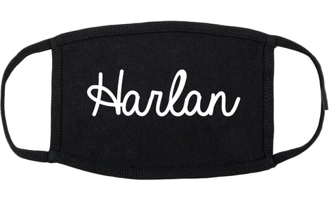 Harlan Iowa IA Script Cotton Face Mask Black