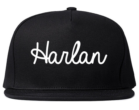 Harlan Iowa IA Script Mens Snapback Hat Black