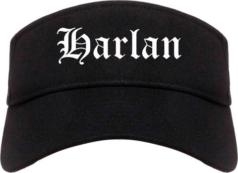 Harlan Iowa IA Old English Mens Visor Cap Hat Black