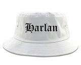 Harlan Iowa IA Old English Mens Bucket Hat White