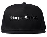 Harper Woods Michigan MI Old English Mens Snapback Hat Black