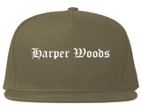 Harper Woods Michigan MI Old English Mens Snapback Hat Grey
