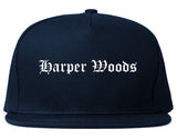 Harper Woods Michigan MI Old English Mens Snapback Hat Navy Blue