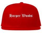 Harper Woods Michigan MI Old English Mens Snapback Hat Red
