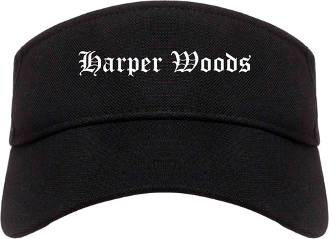Harper Woods Michigan MI Old English Mens Visor Cap Hat Black
