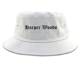 Harper Woods Michigan MI Old English Mens Bucket Hat White