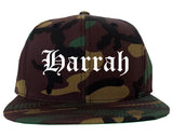 Harrah Oklahoma OK Old English Mens Snapback Hat Army Camo