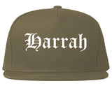 Harrah Oklahoma OK Old English Mens Snapback Hat Grey