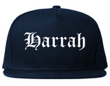Harrah Oklahoma OK Old English Mens Snapback Hat Navy Blue