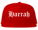 Harrah Oklahoma OK Old English Mens Snapback Hat Red