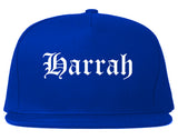 Harrah Oklahoma OK Old English Mens Snapback Hat Royal Blue