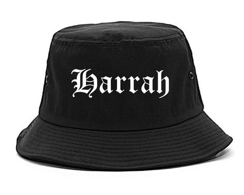 Harrah Oklahoma OK Old English Mens Bucket Hat Black