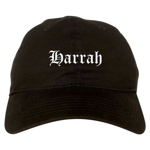Harrah Oklahoma OK Old English Mens Dad Hat Baseball Cap Black