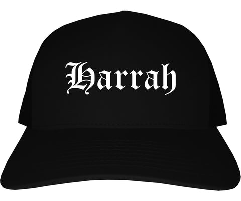 Harrah Oklahoma OK Old English Mens Trucker Hat Cap Black