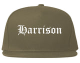 Harrison Arkansas AR Old English Mens Snapback Hat Grey