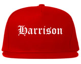 Harrison Arkansas AR Old English Mens Snapback Hat Red