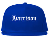Harrison Arkansas AR Old English Mens Snapback Hat Royal Blue