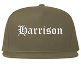 Harrison New Jersey NJ Old English Mens Snapback Hat Grey