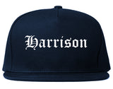 Harrison New Jersey NJ Old English Mens Snapback Hat Navy Blue