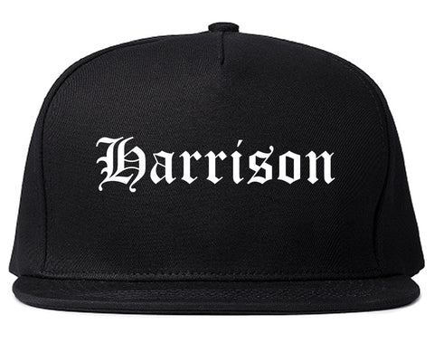 Harrison New York NY Old English Mens Snapback Hat Black