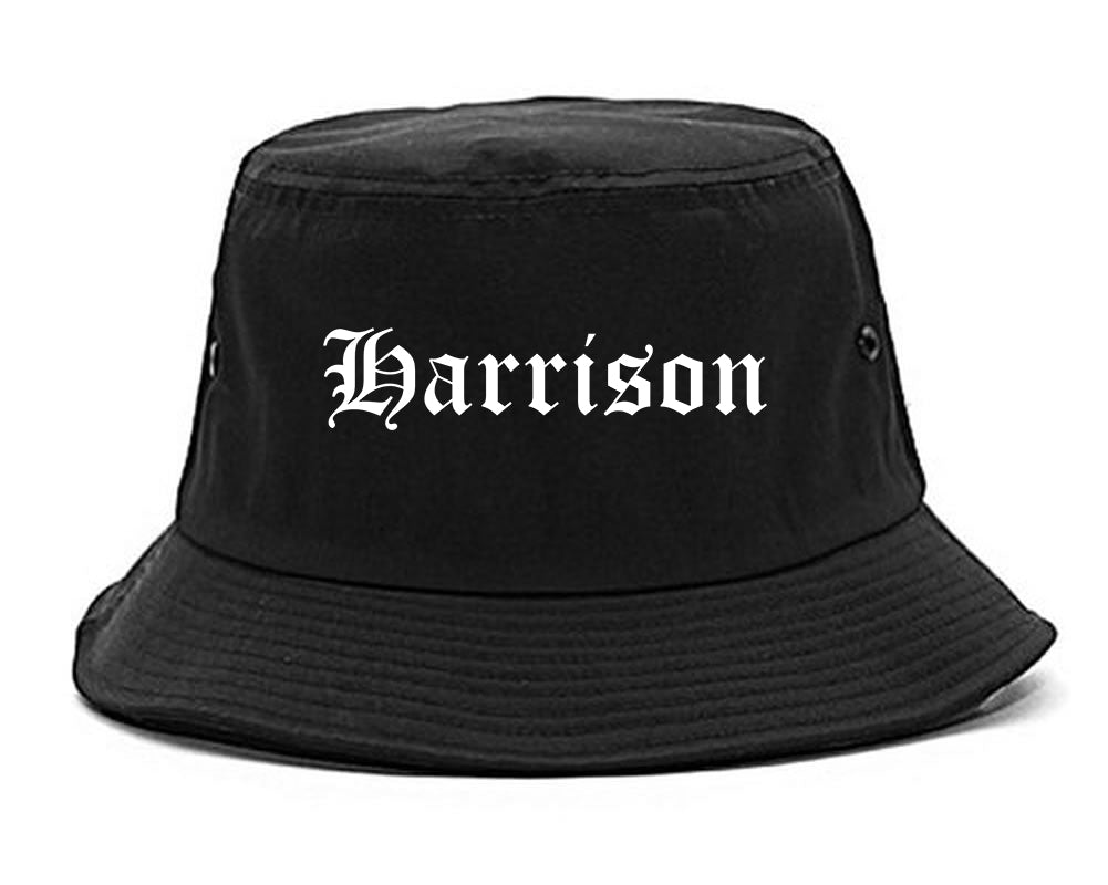 Harrison New York NY Old English Mens Bucket Hat Black