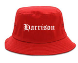 Harrison New York NY Old English Mens Bucket Hat Red