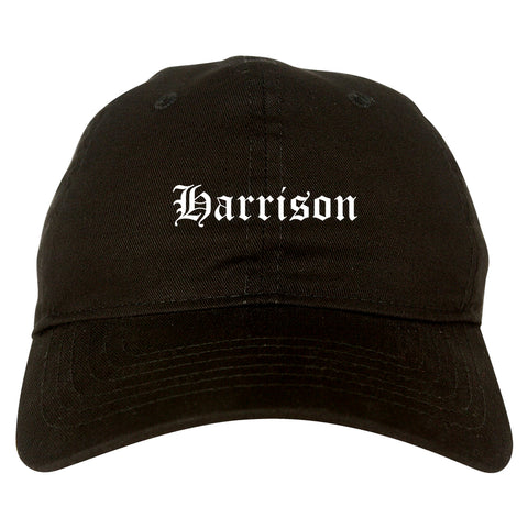 Harrison New York NY Old English Mens Dad Hat Baseball Cap Black