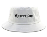 Harrison New York NY Old English Mens Bucket Hat White