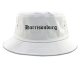 Harrisonburg Virginia VA Old English Mens Bucket Hat White