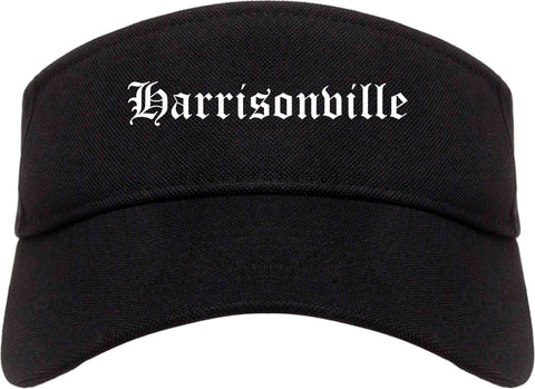 Harrisonville Missouri MO Old English Mens Visor Cap Hat Black