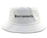 Harrisonville Missouri MO Old English Mens Bucket Hat White