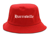 Harrisville Utah UT Old English Mens Bucket Hat Red