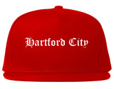Hartford City Indiana IN Old English Mens Snapback Hat Red