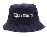 Hartford Connecticut CT Old English Mens Bucket Hat Navy Blue