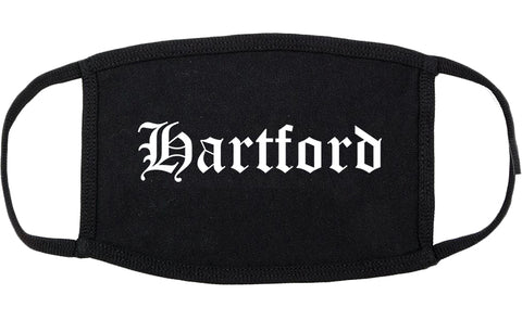 Hartford Wisconsin WI Old English Cotton Face Mask Black
